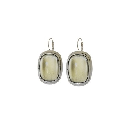 Boucles d'oreilles pâte de verre rectangle