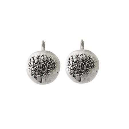 Dormeuses -Boucles d'oreilles ronde arbre