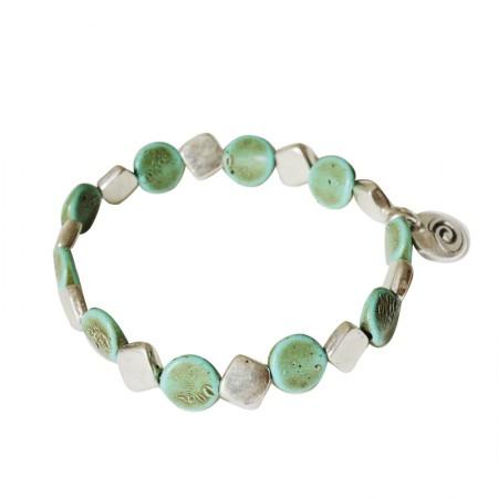 Accueil -Bracelet élastique métal et résine
