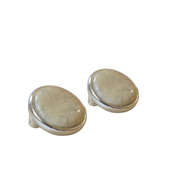Home -boucles d'oreilles clips métal et résine
