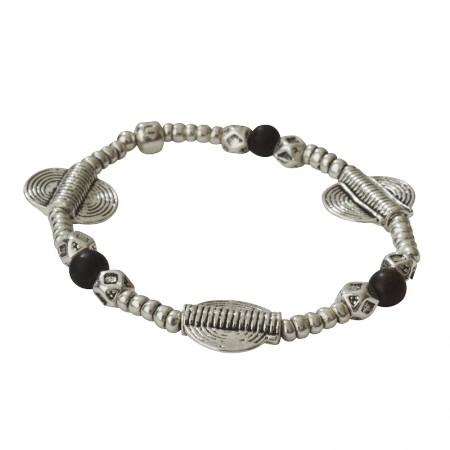 Home -Bracelet élastique métal et bois