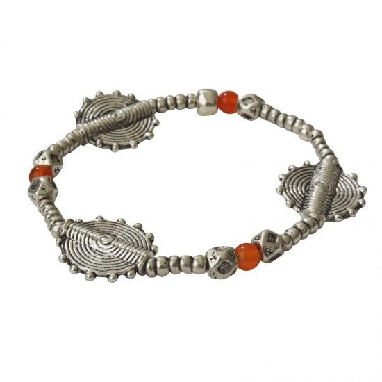 Accueil -Bracelet élastique métal et pierre naturelle