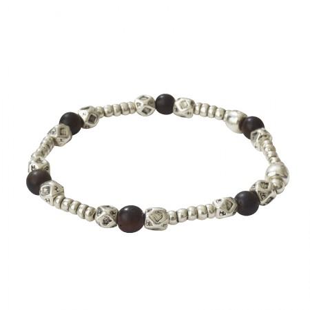 Accueil -Bracelet élastique métal et bois