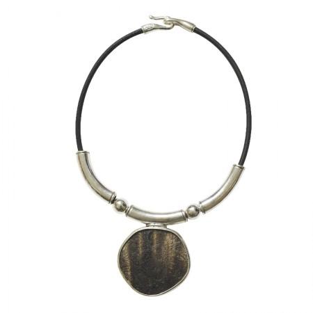 Home -Collier cuir métal et corne