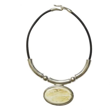 Accueil -Collier cuir métal et corne