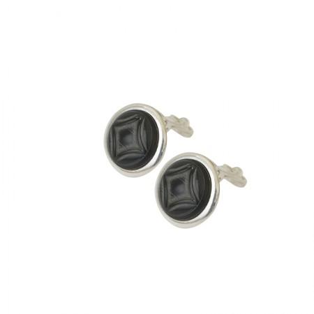 boucles d'oreilles clips métal et corne
