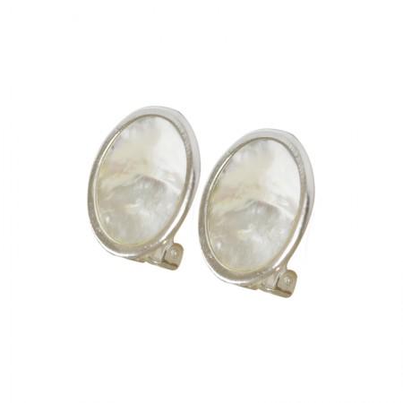 Home -Boucles d'oreilles clips métal et nacre