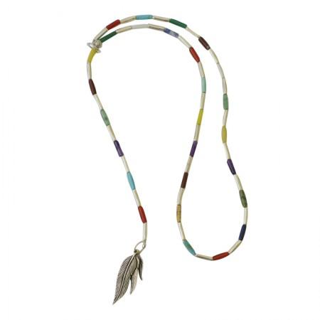 Accueil -sautoir fil, métal et pierres naturelles multicolores