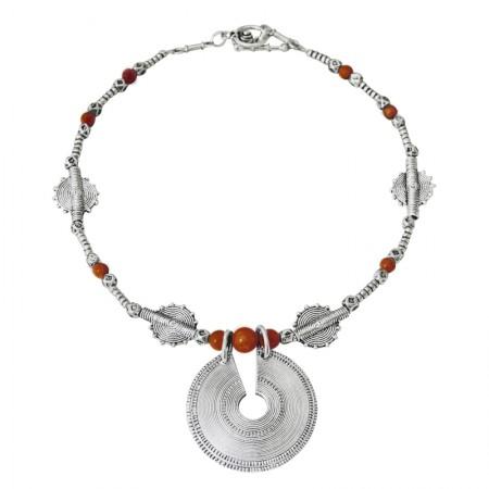 collier fil métal et pierre naturelle