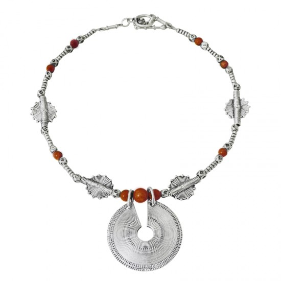 Home -collier fil métal et pierre naturelle