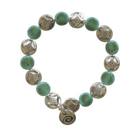Bracelet métal et résine sur élastique
