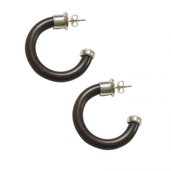 Home -Boucles d'oreilles créoles résine sur clous