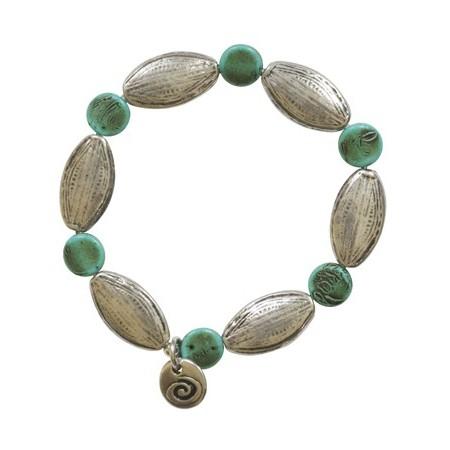 Bracelets élastiques -Bracelet métal et résine sur élastique