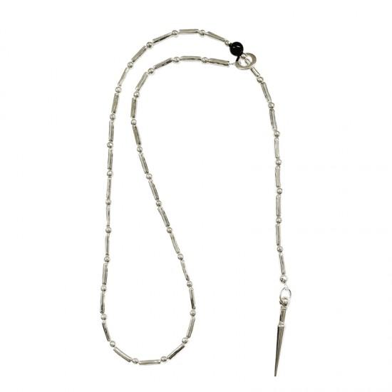 Accueil -Sautoir fil, métal et pierre naturelle