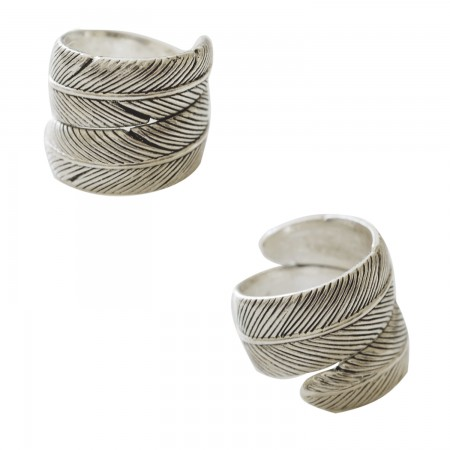Metal Rings -Bague Plume Spirale