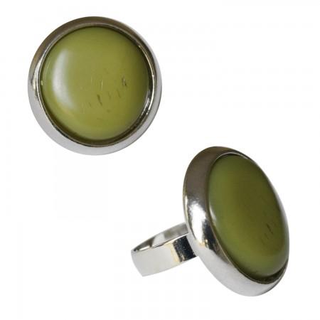 Rings with resin -Petite bague ronde résine bombée