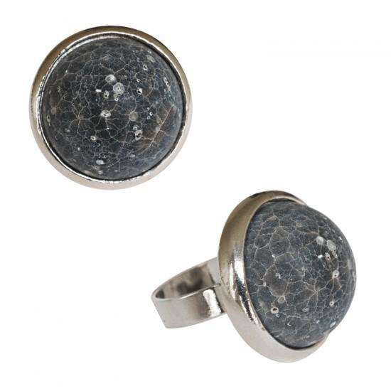 Rings with resin -Petite ronde résine très bombée