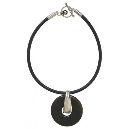 Women -Collier Collier cuir épais rondelle grand format