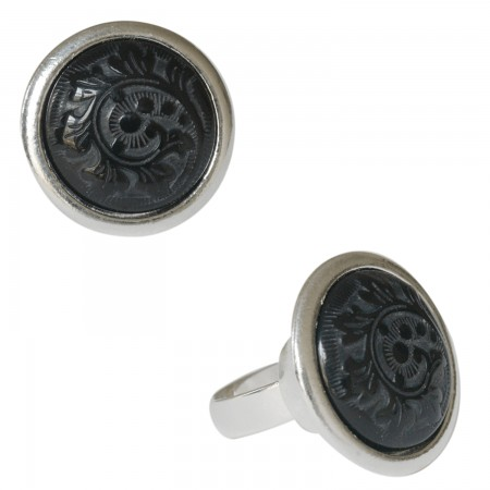 Rings with buffalo horn -Bague corne motif abstrait