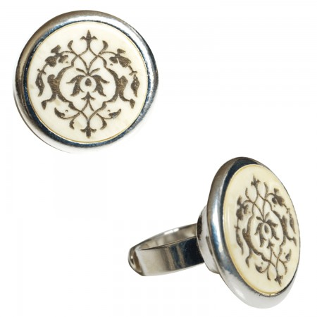 Rings with buffalo horn -Bague corne motif arabesque