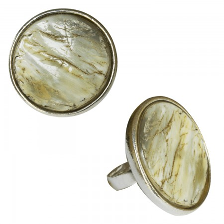 Rings with buffalo horn -Bague ronde corne relief