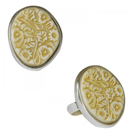 Rings with buffalo horn -Bague corne motif floral