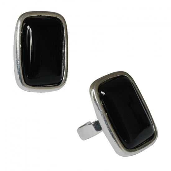 Bague Rectangulaire Agate Noire
