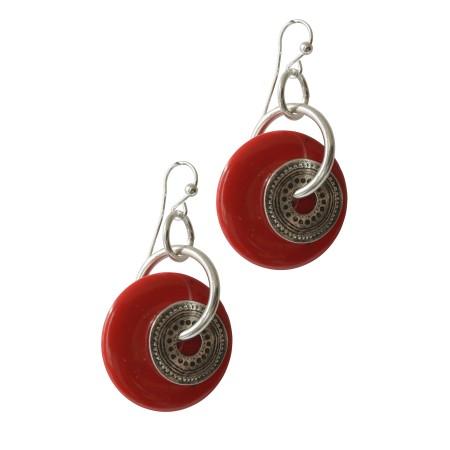 Femmes -Boucles d'oreilles métal et résine