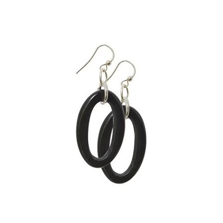 Women -Boucles d'oreilles simples ovale corne
