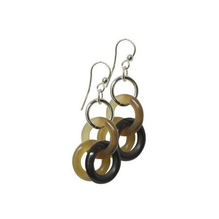 Boucles d'oreilles anneaux corne