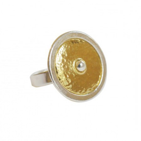 Bagues Métal -Bague bicolore - Bague étain argenté, étain or