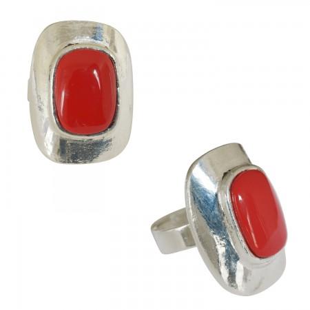 Rings with resin -Petite bague bombée rectangulaire résine